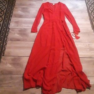 H&M Red Wrap Maxi Dress size 2